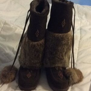 Pika fur bead boots brown 7